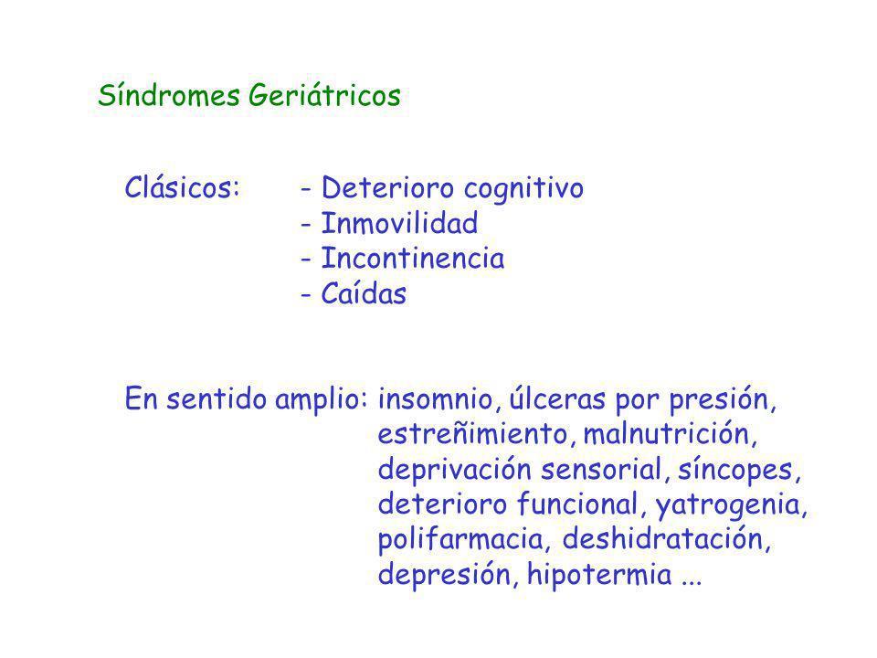 Síndromes Geriátricos Clásicos:- Deterioro cognitivo - Inmovilidad - Incontinencia - Caídas En sentido amplio: insomnio, úlceras por presión, estreñim