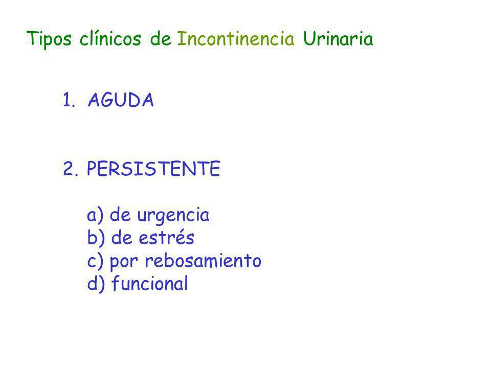 Tipos clínicos de Incontinencia Urinaria 1.AGUDA 2.PERSISTENTE a) de urgencia b) de estrés c) por rebosamiento d) funcional