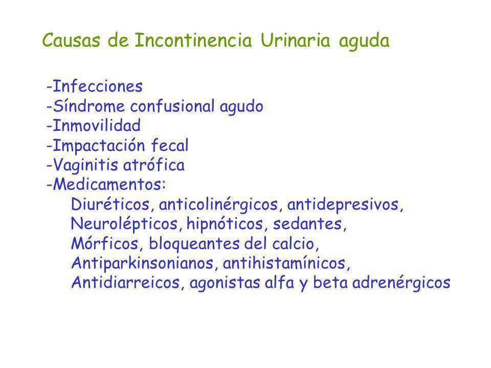Causas de Incontinencia Urinaria aguda -Infecciones -Síndrome confusional agudo -Inmovilidad -Impactación fecal -Vaginitis atrófica -Medicamentos: Diu