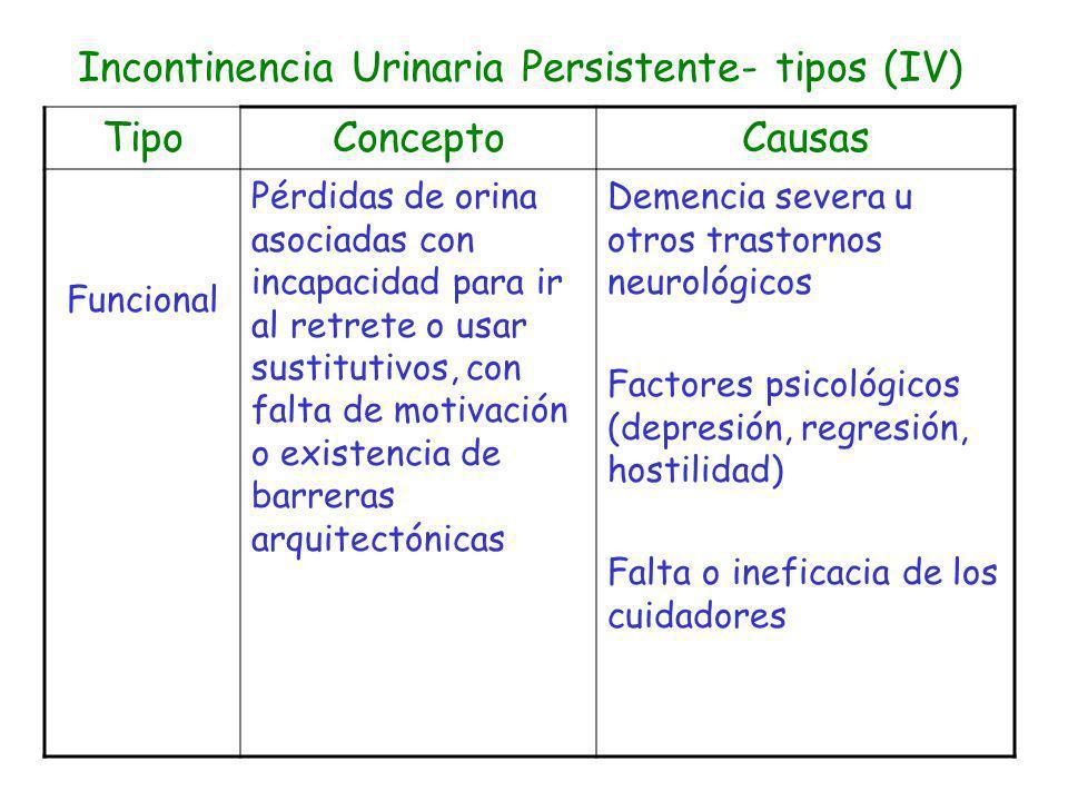 Incontinencia Urinaria Persistente- tipos (IV) TipoConceptoCausas Funcional Pérdidas de orina asociadas con incapacidad para ir al retrete o usar sust