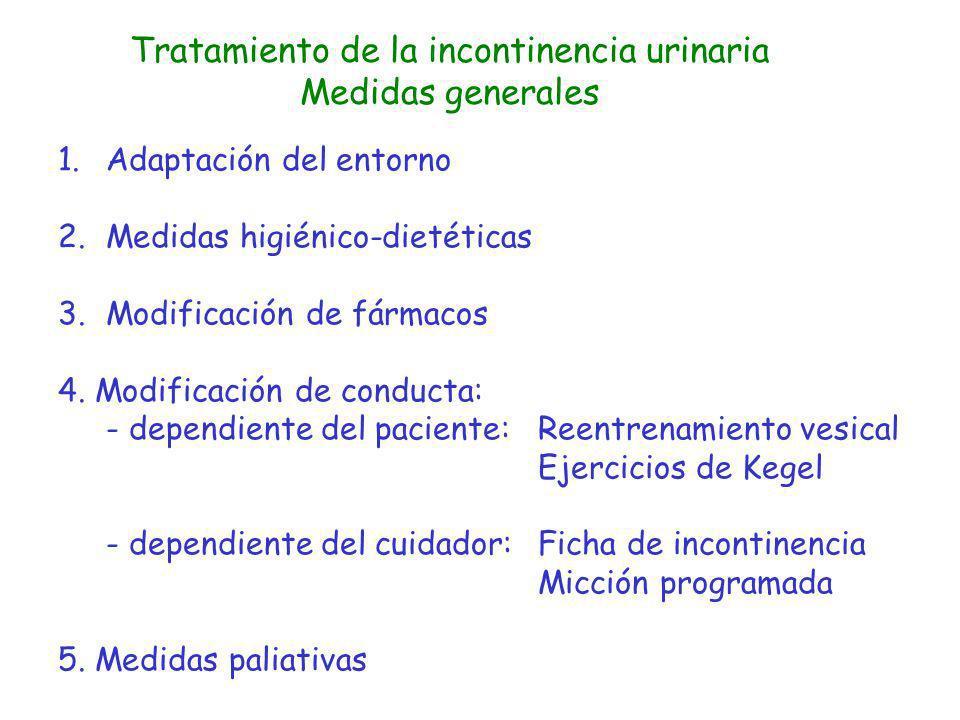 Tratamiento de la incontinencia urinaria Medidas generales 1.Adaptación del entorno 2.Medidas higiénico-dietéticas 3.Modificación de fármacos 4. Modif