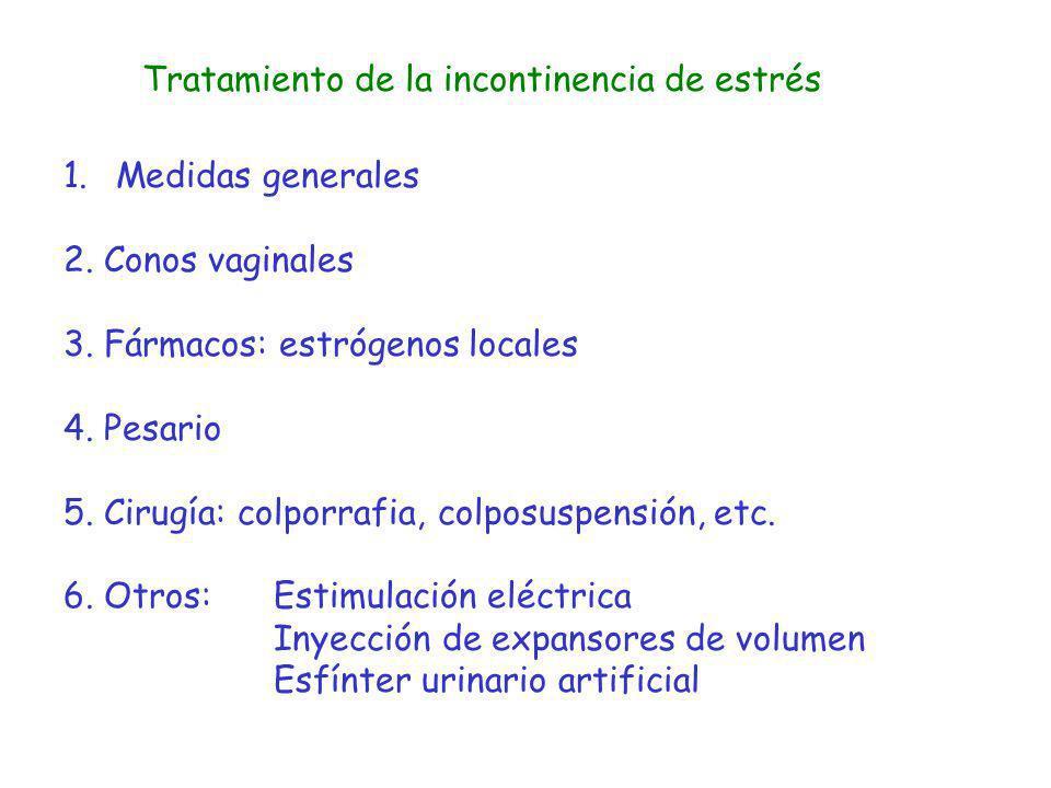 Tratamiento de la incontinencia de estrés 1.Medidas generales 2. Conos vaginales 3. Fármacos: estrógenos locales 4. Pesario 5. Cirugía: colporrafia, c