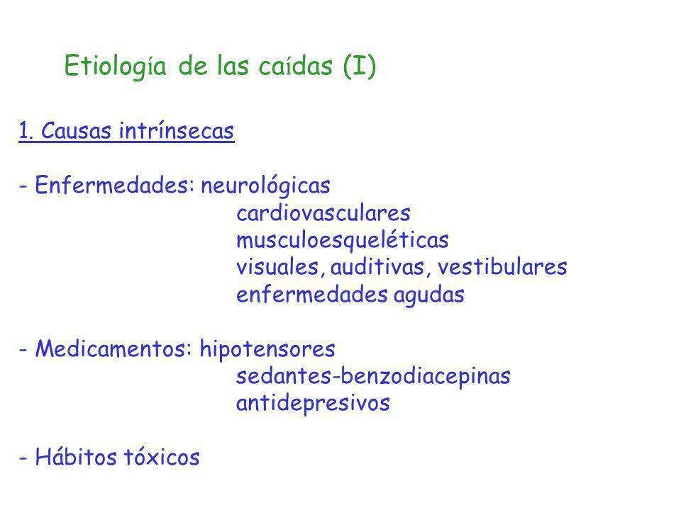 Etiolog í a de las ca í das (I) 1. Causas intrínsecas - Enfermedades: neurológicas cardiovasculares musculoesqueléticas visuales, auditivas, vestibula