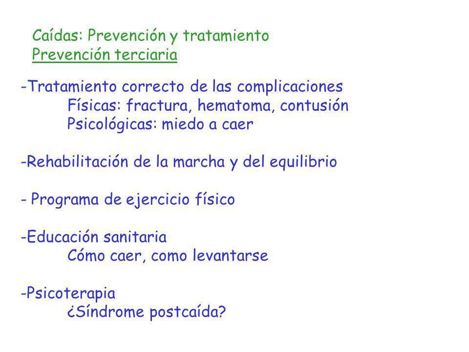 Caídas: Prevención y tratamiento Prevención terciaria -Tratamiento correcto de las complicaciones Físicas: fractura, hematoma, contusión Psicológicas: