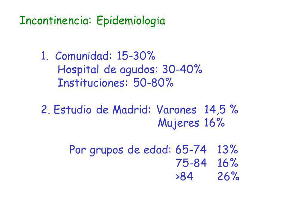 Incontinencia: Epidemiolog í a 1.Comunidad: 15-30% Hospital de agudos: 30-40% Instituciones: 50-80% 2. Estudio de Madrid: Varones 14,5 % Mujeres 16% P