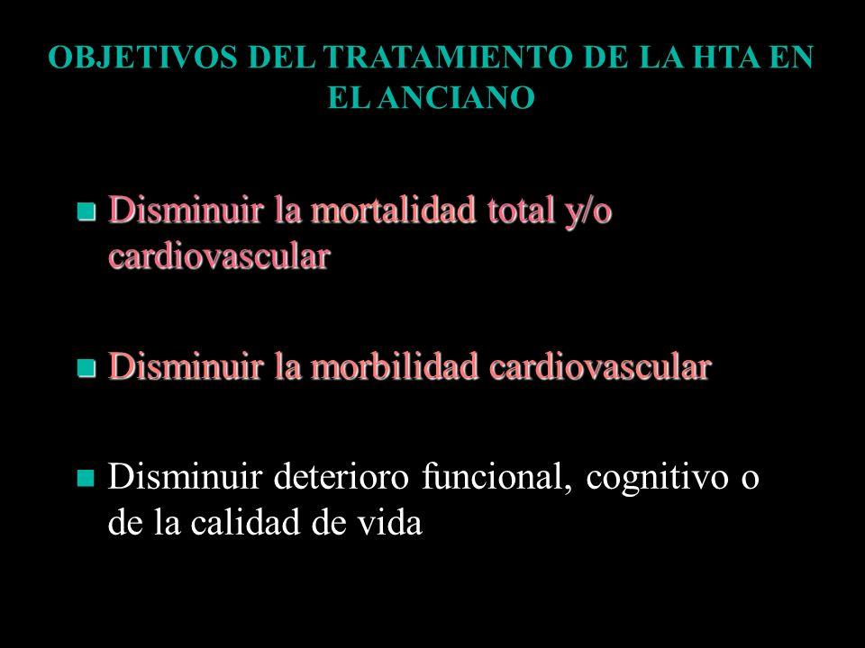 OBJETIVOS DEL TRATAMIENTO DE LA HTA EN EL ANCIANO Disminuir la mortalidad total y/o cardiovascular Disminuir la mortalidad total y/o cardiovascular Di