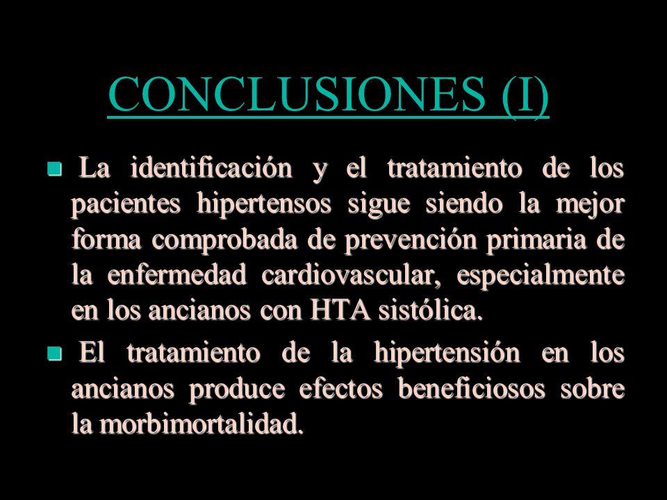 CONCLUSIONES (II) El efecto del tratamiento de la hipertensión depende de las cifras de PA que se obtengan.