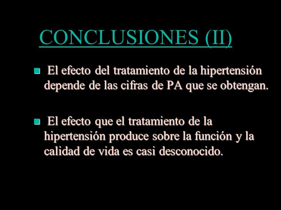 CONCLUSIONES (II) El efecto del tratamiento de la hipertensión depende de las cifras de PA que se obtengan. El efecto del tratamiento de la hipertensi