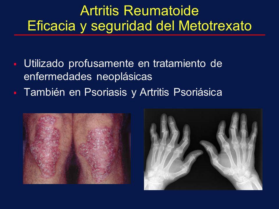 Artritis Reumatoide Eficacia y seguridad del Metotrexato Utilizado profusamente en tratamiento de enfermedades neoplásicas También en Psoriasis y Artritis Psoriásica