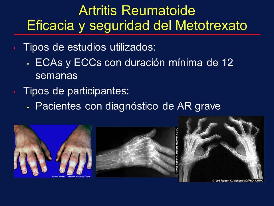 Tipos de estudios utilizados: ECAs y ECCs con duración mínima de 12 semanas Tipos de participantes: Pacientes con diagnóstico de AR grave