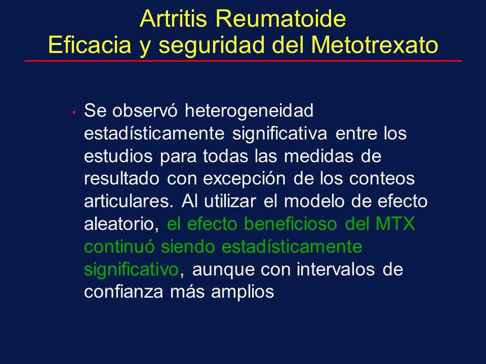 Artritis Reumatoide Eficacia y seguridad del Metotrexato Se observó heterogeneidad estadísticamente significativa entre los estudios para todas las medidas de resultado con excepción de los conteos articulares.