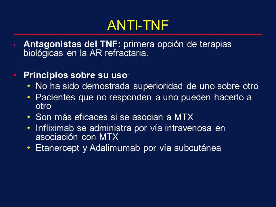 ANTI-TNF Antagonistas del TNF: primera opción de terapias biológicas en la AR refractaria.