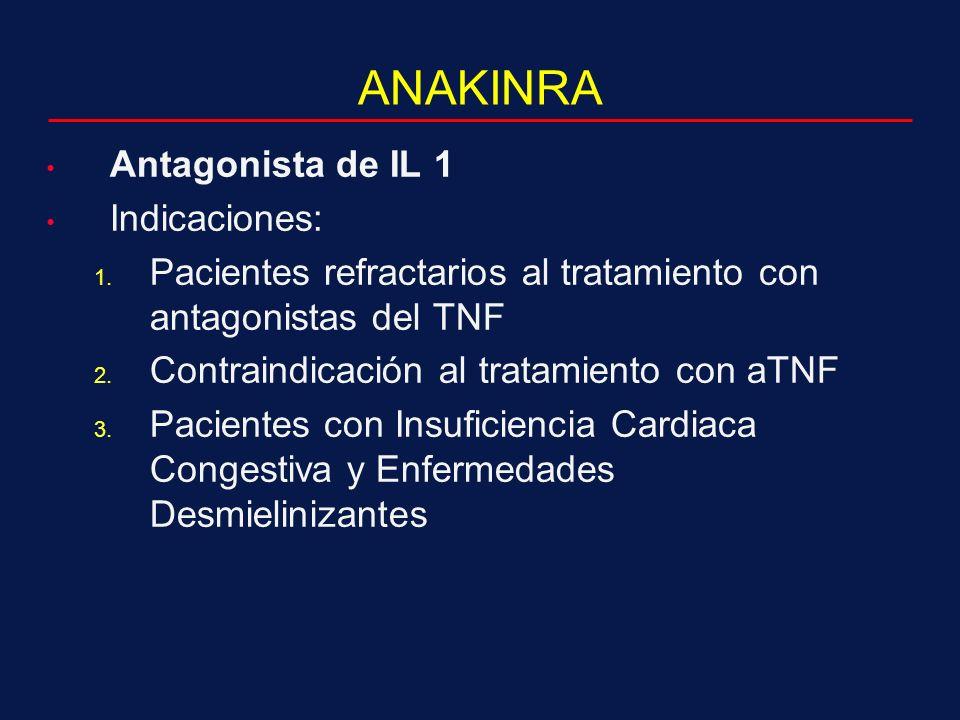 ANAKINRA Antagonista de IL 1 Indicaciones: 1.