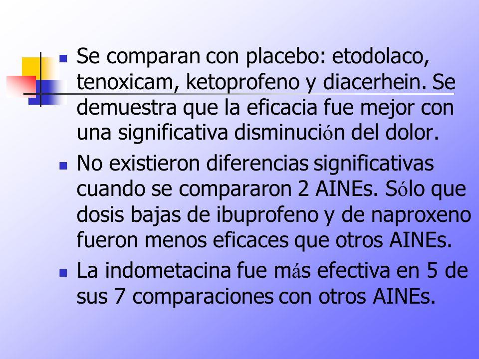 Se comparan con placebo: etodolaco, tenoxicam, ketoprofeno y diacerhein. Se demuestra que la eficacia fue mejor con una significativa disminuci ó n de