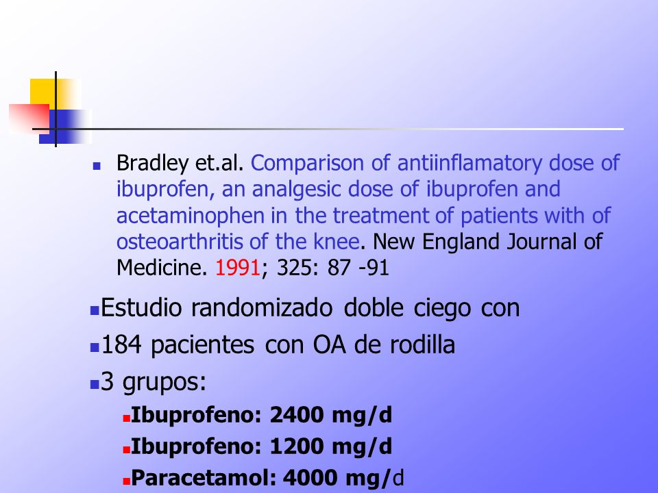 Bradley et.al. Comparison of antiinflamatory dose of ibuprofen, an analgesic dose of ibuprofen and acetaminophen in the treatment of patients with of