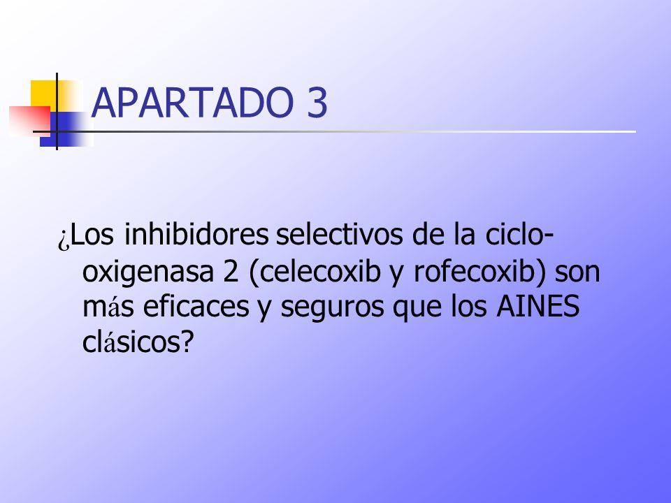 APARTADO 3 ¿ Los inhibidores selectivos de la ciclo- oxigenasa 2 (celecoxib y rofecoxib) son m á s eficaces y seguros que los AINES cl á sicos?