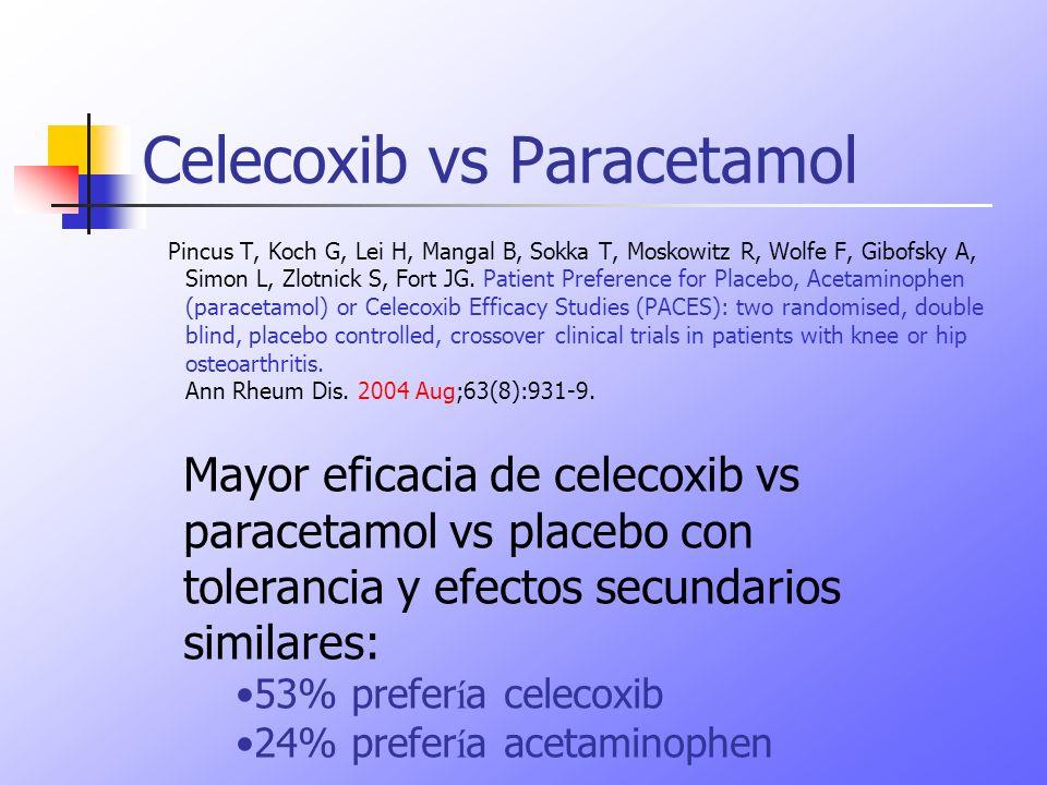 Celecoxib vs Paracetamol Pincus T, Koch G, Lei H, Mangal B, Sokka T, Moskowitz R, Wolfe F, Gibofsky A, Simon L, Zlotnick S, Fort JG. Patient Preferenc