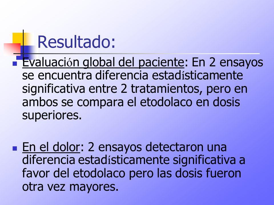 Resultado: Evaluaci ó n global del paciente: En 2 ensayos se encuentra diferencia estad í sticamente significativa entre 2 tratamientos, pero en ambos