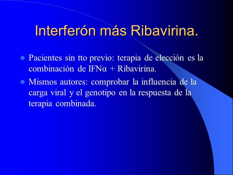 Interferón más Ribavirina. Eficacia global. Respuesta sostenida AUTOR3MU IFN/TVS +1000- 12OOmg RIB 24sem 3 MU IFN/TVS 24 sem. Poynard96/277 (35%) ----