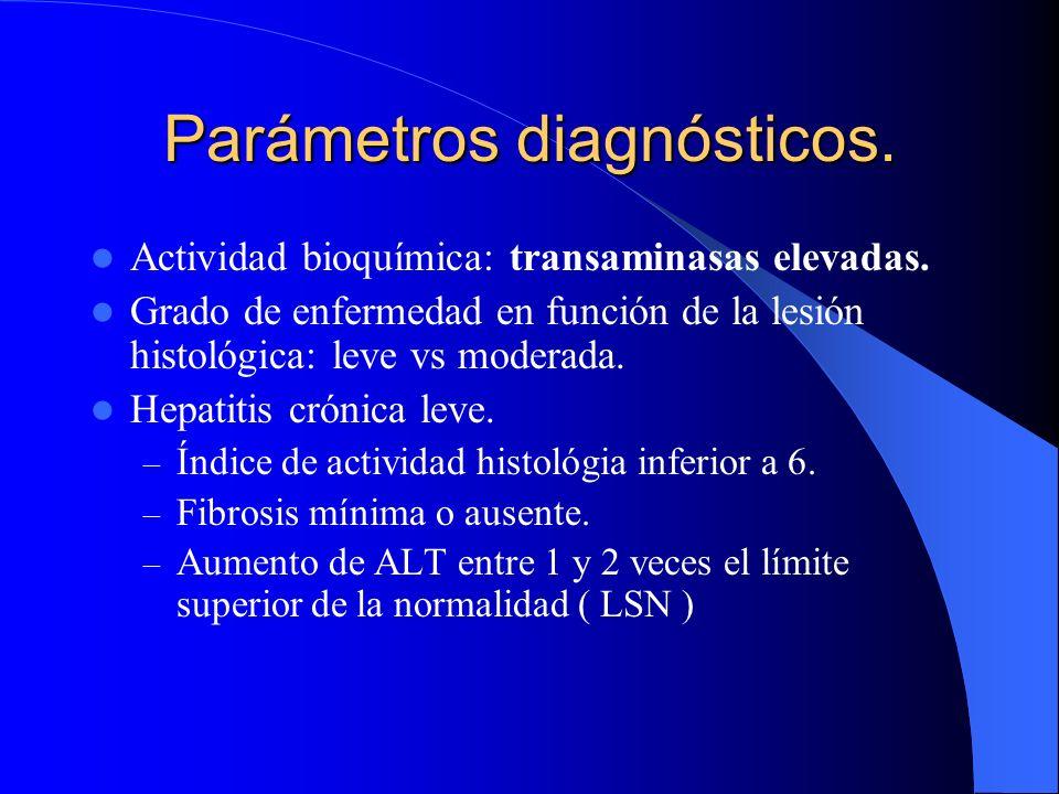 Parámetros diagnósticos. Actividad bioquímica: transaminasas normales. Tres determinaciones distintas durante 6meses de observación. Presencia de VCH