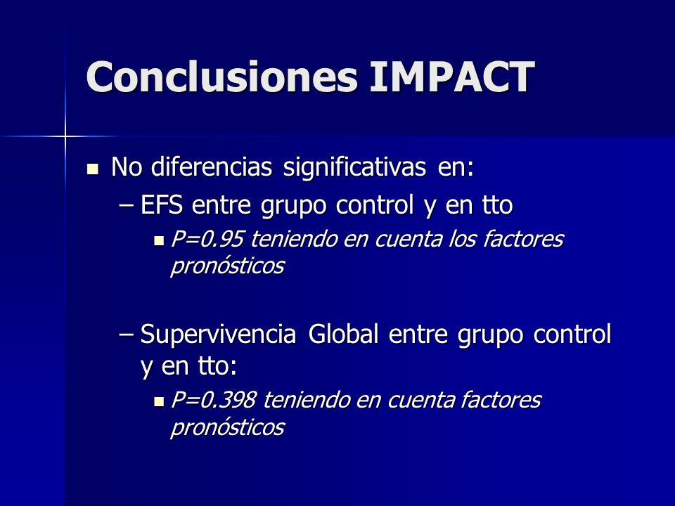 Conclusiones IMPACT No diferencias significativas en: No diferencias significativas en: –EFS entre grupo control y en tto P=0.95 teniendo en cuenta lo