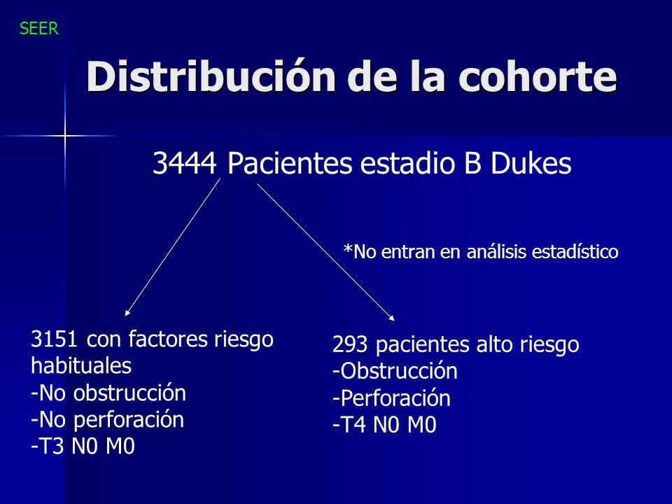 Distribución de la cohorte 3444 Pacientes estadio B Dukes 3151 con factores riesgo habituales -No obstrucción -No perforación -T3 N0 M0 293 pacientes