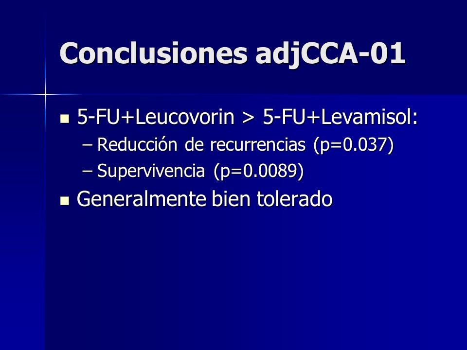 Conclusiones adjCCA-01 5-FU+Leucovorin > 5-FU+Levamisol: 5-FU+Leucovorin > 5-FU+Levamisol: –Reducción de recurrencias (p=0.037) –Supervivencia (p=0.00