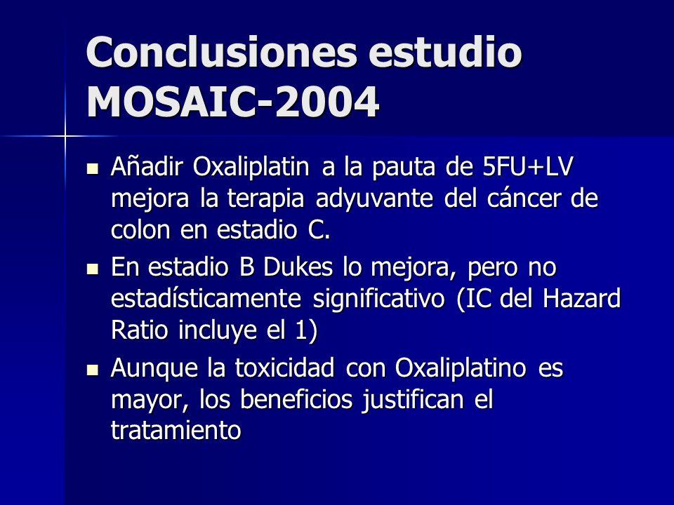 Conclusiones estudio MOSAIC-2004 Añadir Oxaliplatin a la pauta de 5FU+LV mejora la terapia adyuvante del cáncer de colon en estadio C. Añadir Oxalipla