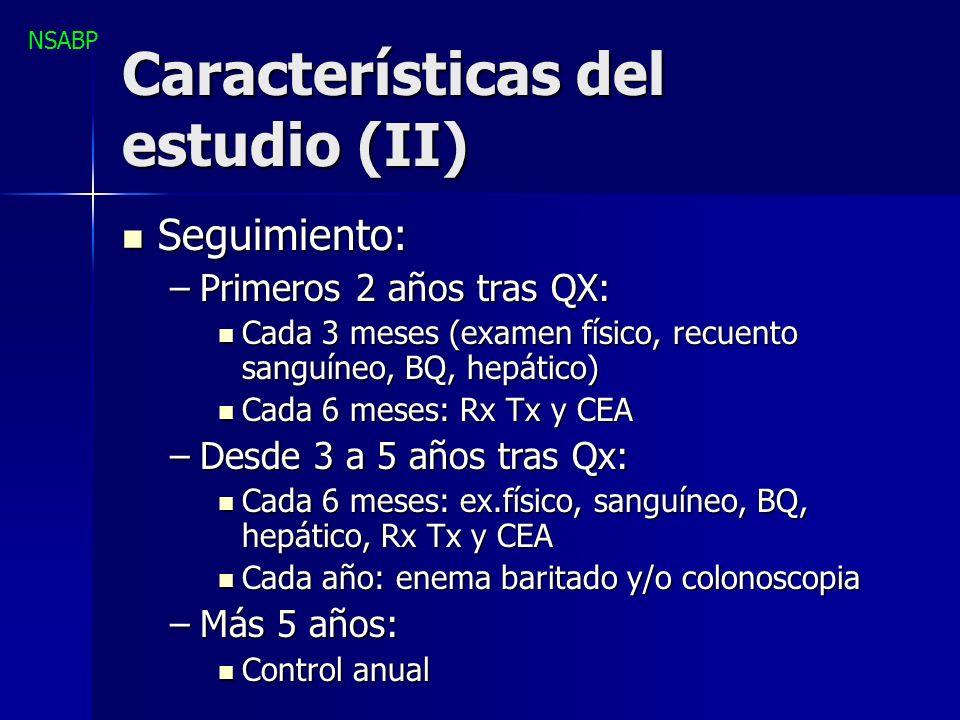 Características del estudio (II) Seguimiento: Seguimiento: –Primeros 2 años tras QX: Cada 3 meses (examen físico, recuento sanguíneo, BQ, hepático) Ca