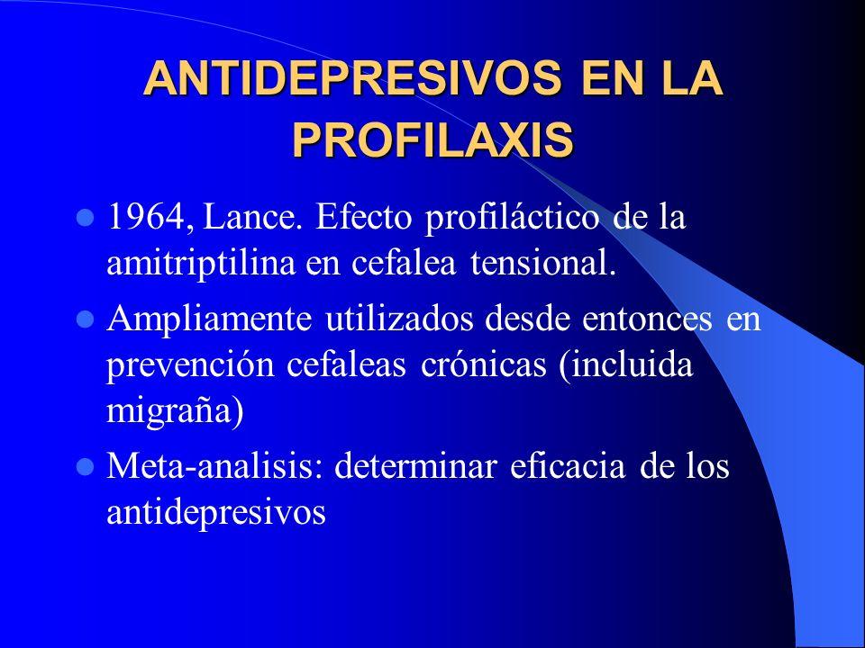 ANTIDEPRESIVOS EN LA PROFILAXIS 1964, Lance. Efecto profiláctico de la amitriptilina en cefalea tensional. Ampliamente utilizados desde entonces en pr