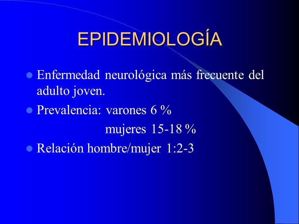 EPIDEMIOLOGÍA Enfermedad neurológica más frecuente del adulto joven. Prevalencia: varones 6 % mujeres 15-18 % Relación hombre/mujer 1:2-3