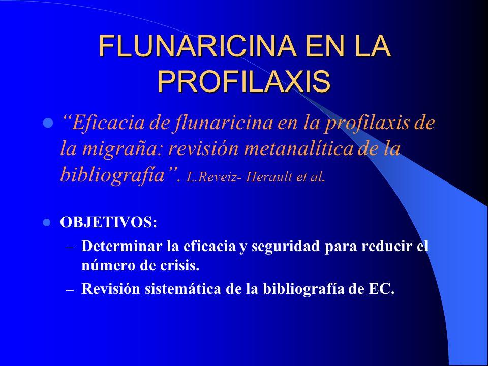 FLUNARICINA EN LA PROFILAXIS Eficacia de flunaricina en la profilaxis de la migraña: revisión metanalítica de la bibliografía. L.Reveiz- Herault et al