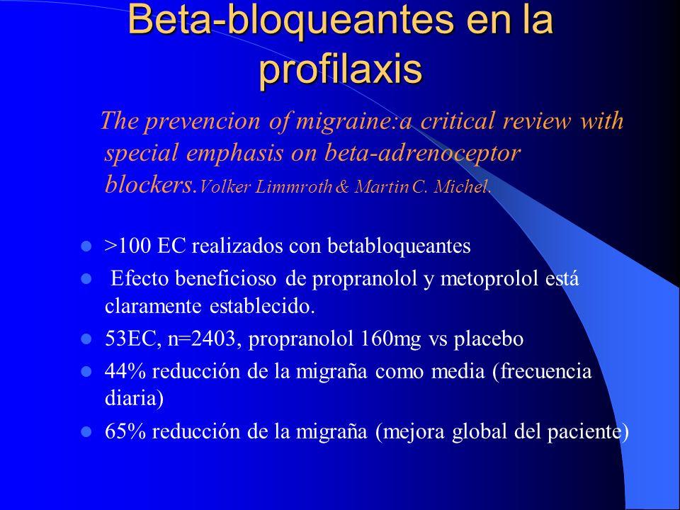 Beta-bloqueantes en la profilaxis The prevencion of migraine:a critical review with special emphasis on beta-adrenoceptor blockers. Volker Limmroth &
