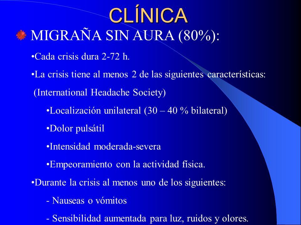 CLÍNICA MIGRAÑA SIN AURA (80%): Cada crisis dura 2-72 h. La crisis tiene al menos 2 de las siguientes características: (International Headache Society