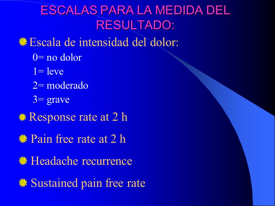 ESCALAS PARA LA MEDIDA DEL RESULTADO: Escala de intensidad del dolor: 0= no dolor 1= leve 2= moderado 3= grave Response rate at 2 h Pain free rate at