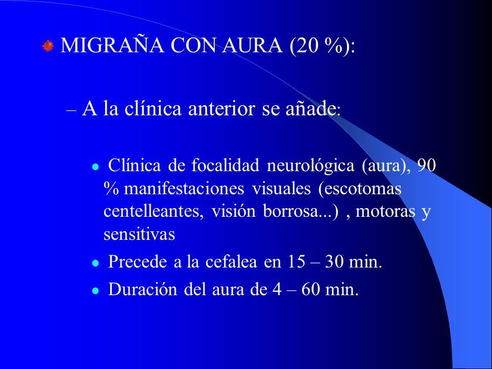 MIGRAÑA CON AURA (20 %): – A la clínica anterior se añade : Clínica de focalidad neurológica (aura), 90 % manifestaciones visuales (escotomas centelle