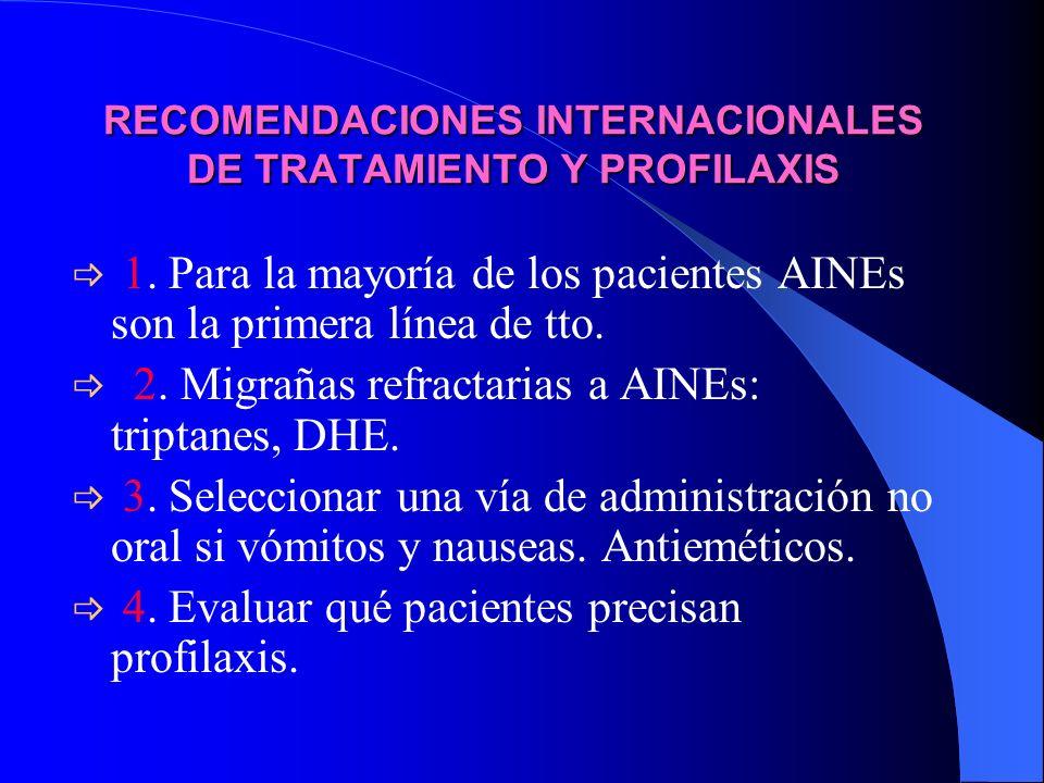 RECOMENDACIONES INTERNACIONALES DE TRATAMIENTO Y PROFILAXIS 1. Para la mayoría de los pacientes AINEs son la primera línea de tto. 2. Migrañas refract