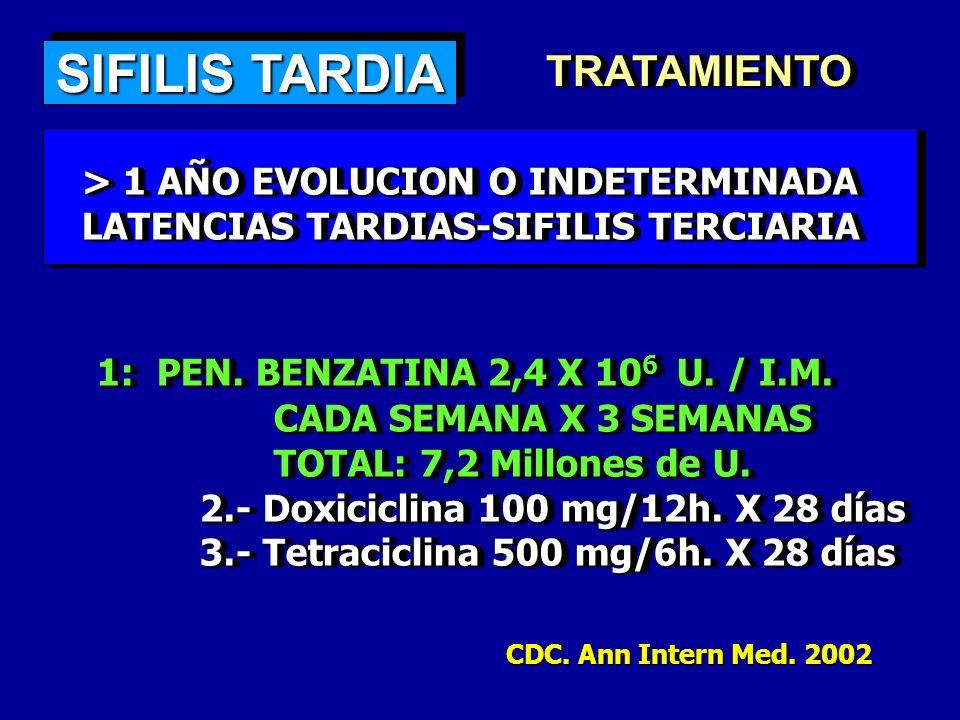 SIFILIS TARDIA TRATAMIENTOTRATAMIENTO > 1 AÑO EVOLUCION O INDETERMINADA > 1 AÑO EVOLUCION O INDETERMINADA LATENCIAS TARDIAS-SIFILIS TERCIARIA LATENCIA
