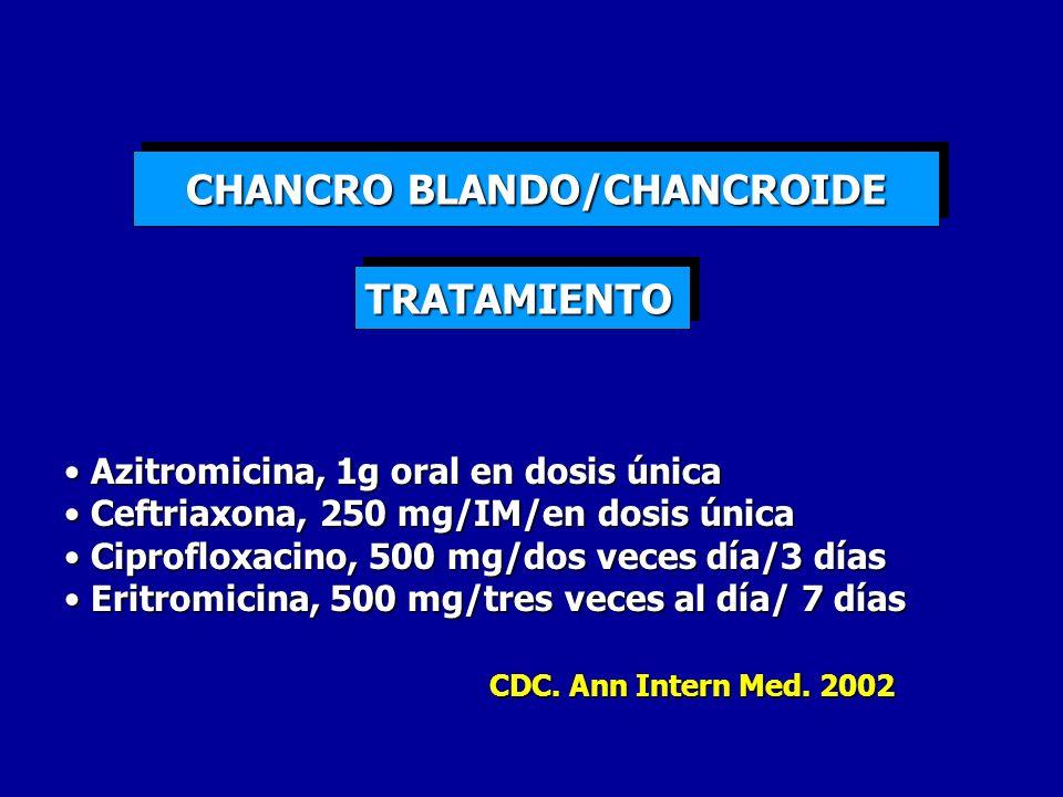 CHANCRO BLANDO/CHANCROIDE Azitromicina, 1g oral en dosis única Azitromicina, 1g oral en dosis única Ceftriaxona, 250 mg/IM/en dosis única Ceftriaxona,