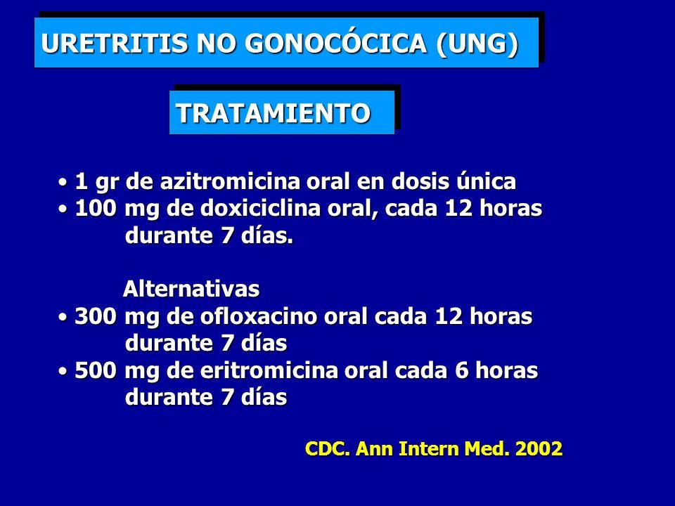 URETRITIS NO GONOCÓCICA (UNG) 1 gr de azitromicina oral en dosis única 1 gr de azitromicina oral en dosis única 100 mg de doxiciclina oral, cada 12 ho