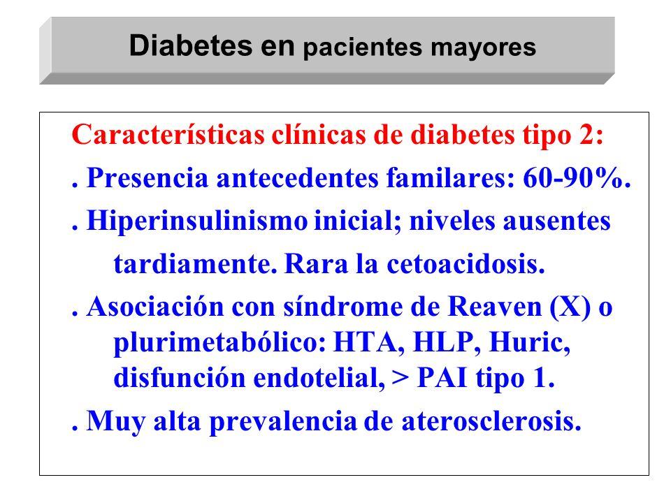 Características clínicas de diabetes tipo 2:. Presencia antecedentes familares: 60-90%.. Hiperinsulinismo inicial; niveles ausentes tardiamente. Rara