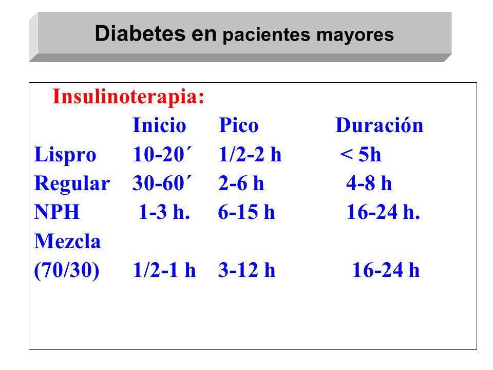 Insulinoterapia: Inicio Pico Duración Lispro10-20´ 1/2-2 h < 5h Regular30-60´ 2-6 h 4-8 h NPH 1-3 h. 6-15 h 16-24 h. Mezcla (70/30)1/2-1 h 3-12 h 16-2