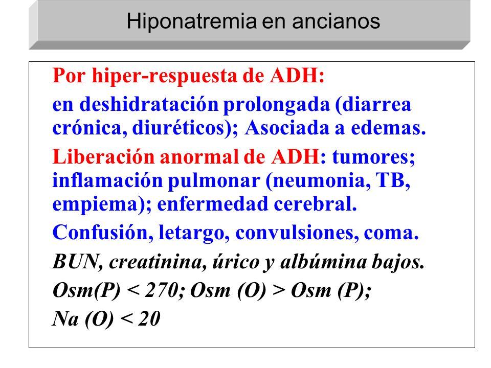 Por hiper-respuesta de ADH: en deshidratación prolongada (diarrea crónica, diuréticos); Asociada a edemas. Liberación anormal de ADH: tumores; inflama
