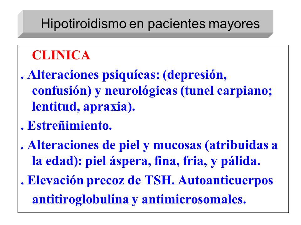 CLINICA. Alteraciones psiquícas: (depresión, confusión) y neurológicas (tunel carpiano; lentitud, apraxia).. Estreñimiento.. Alteraciones de piel y mu