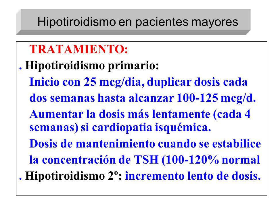 TRATAMIENTO:. Hipotiroidismo primario: Inicio con 25 mcg/dia, duplicar dosis cada dos semanas hasta alcanzar 100-125 mcg/d. Aumentar la dosis más lent