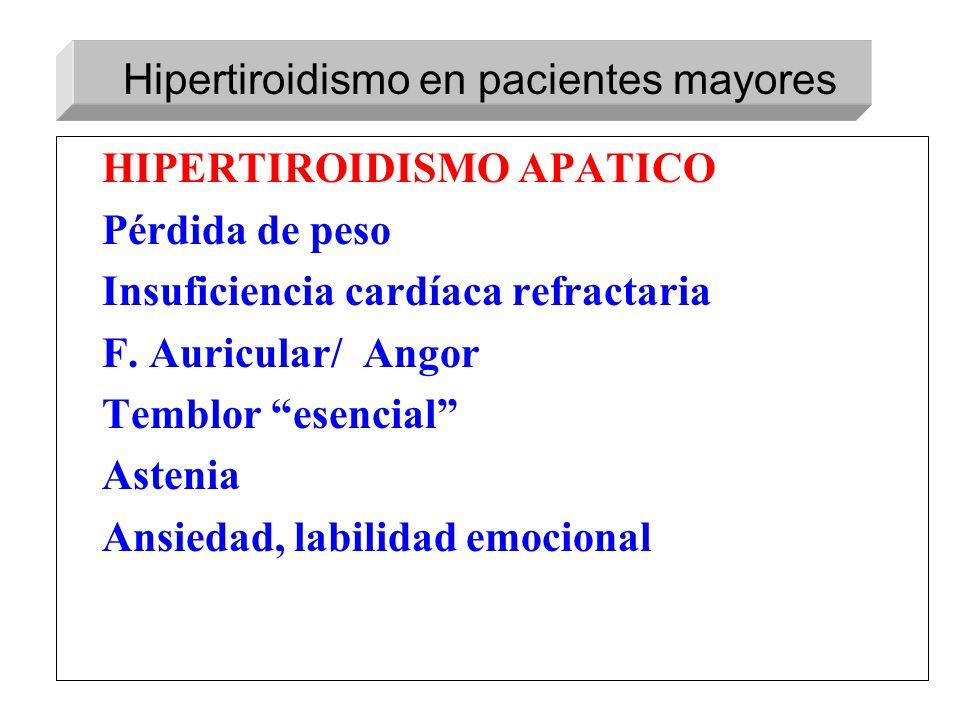 HIPERTIROIDISMO APATICO Pérdida de peso Insuficiencia cardíaca refractaria F. Auricular/ Angor Temblor esencial Astenia Ansiedad, labilidad emocional