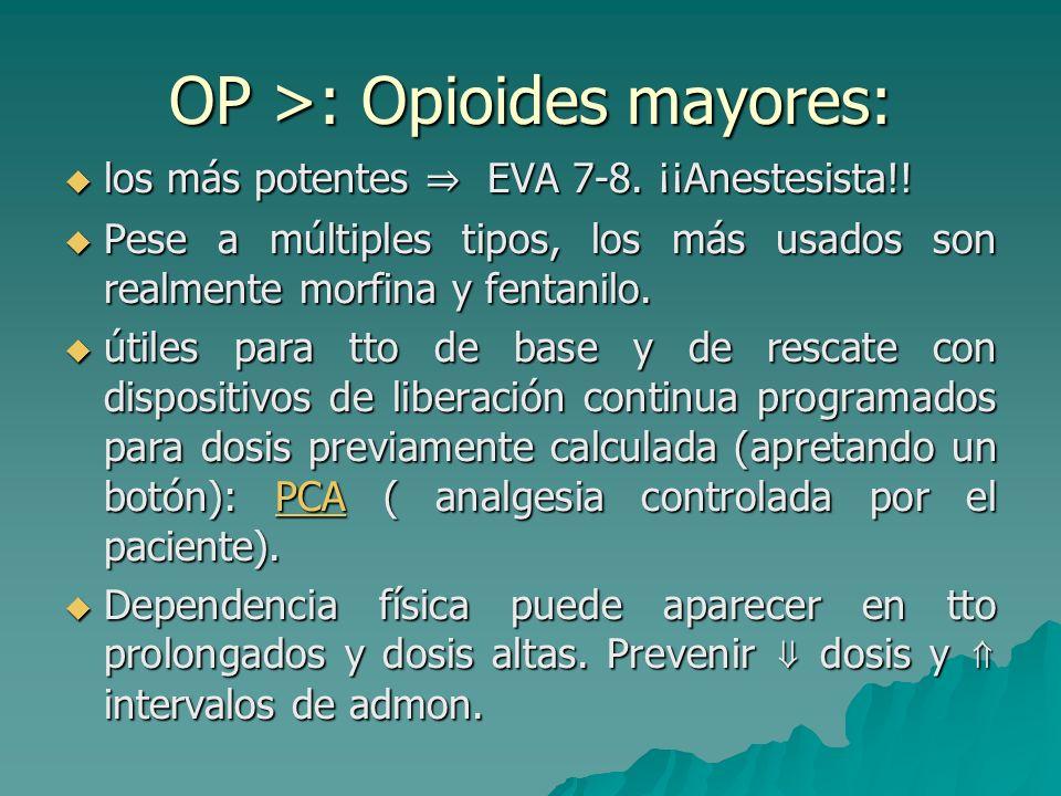 OP <: opioides menores: Dolor moderado. Dolor moderado. Principal efecto secundario: estreñimiento, prevenido y tratado con dieta y laxantes. Principa