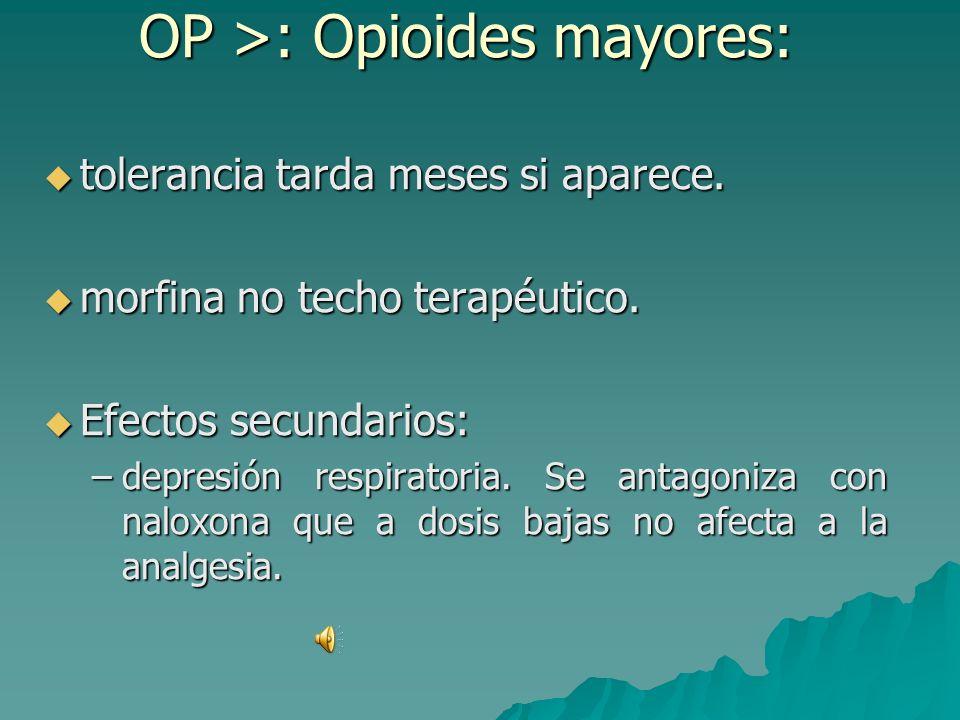 OP >: Opioides mayores: los más potentes EVA 7-8. ¡¡Anestesista!! los más potentes EVA 7-8. ¡¡Anestesista!! Pese a múltiples tipos, los más usados son