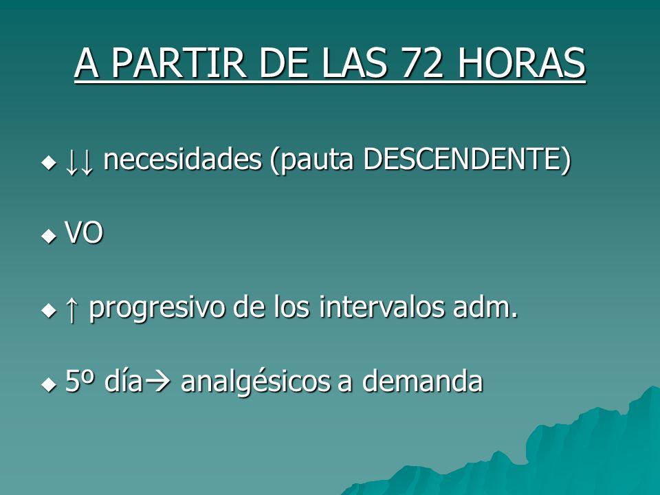 A PARTIR DE LAS 72 HORAS