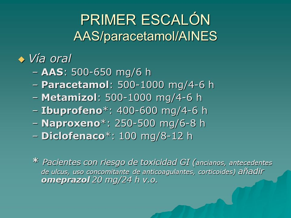 En el tratamiento farmacológico del dolor crónico se emplea una pauta ascendente de analgesia, basada en la escalera analgésica de la OMS